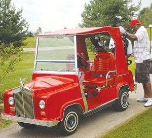 Brandon Carr had the coolest golf cart at his June 26 outing at Sugarbush Golf Club, a Rolls-Royce model painted in Kansas City Chiefs red and donated by auto dealer Patsy Lou Williamson.