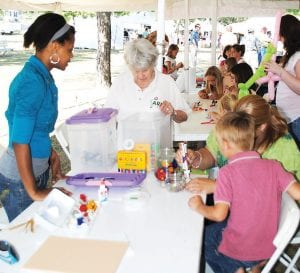 Children were able to create their own works of art in the kids tent.