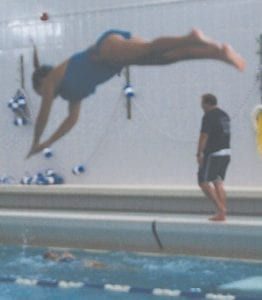 A Lady Cavalier practiced a dive.