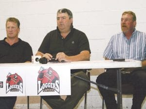 Lapeer Loggers coach Lorne Knauft, owner George Harrison, and promotions director Chuck Harrison unveiled the team's staff at a press conference Tuesday at the Polar Palace.