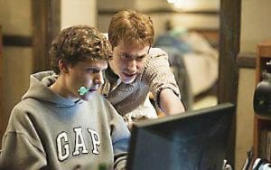 THE SOCIAL NETWORK — Jesse Eisenberg and Andrew Garfield star in the story of the creation of Facebook.