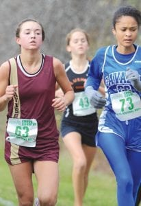 A Carman-Ainsworth runner stayed just a step ahead of a Davison runner at the regional at Delta College last Saturday.