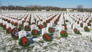 A photograph taken after last year's wreath laying ceremony at Great Lakes National Cemetery in Holly.