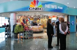 The new CNBC store offers travelers a full array of gift shop items.