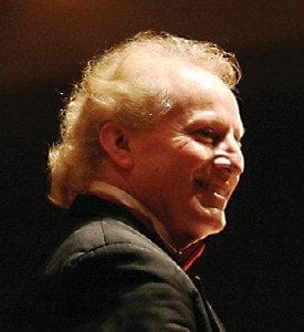 Conductor Enrique Diemecke (inset) of the Flint Symphony Orchestra.