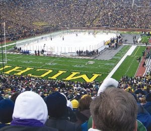 The Big House was transformed into an outdoor hockey arena for the record-breaking attendance hockey game.