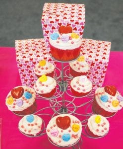 Valentine's Day cupcakes are ready at the bakery.