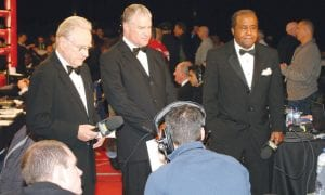HBO broadcasters (L-R) Larry Merchant, Jim Lampley and Detroit's Emmanuel Steward get ready to take the air live last Saturday at the Pontiac Silverdome.