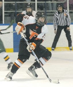 Flushing's Mickey Montpas made his way toward the goal.