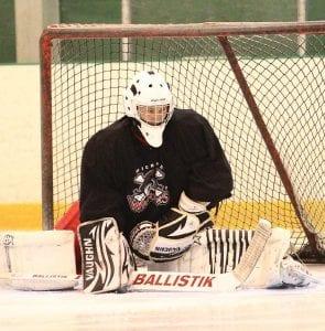 Michigan Warriors goalie, Robert Tadazak, captured during an early-season practice.