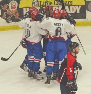The Michigan Warriors class A Junior hockey team won its first-ever best-of-five North American Hockey League playoff series at the Perani Arena and Event Center last weekend as Robert Tadazak gave the team a strong effort during his time in net.