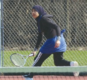 No. 1 singles player Afrah Aslam in action at Flushing.