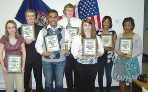All of the 2010-2011 Student of the Month award winners (so far this year), from left: Kristen Loiselle, Jimmy Ewald, Milton Straham III, Douglas Robinett, Jessica Mullins, Ty'Yonda Copeland and Jazelle Walker.