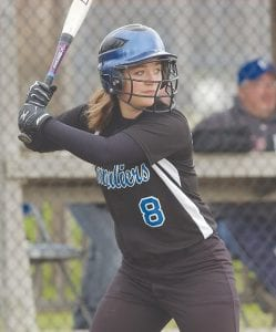 Carman-Ainsworth's Megan Bogerding stood tall at the plate. Photo by Dan Nilsen