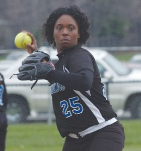 Carman's Kinterra Tomlinson showed no fear in a throw to the bag.