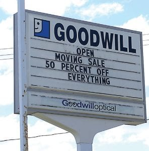 The sign outside of the old Saginaw and Bristol Roads Goodwill location.