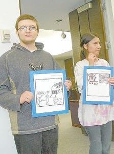 Samantha Raswon and Brendan Spainhower, students recognized for work in the VSA program, with teacher Melissa Strobridge, right,