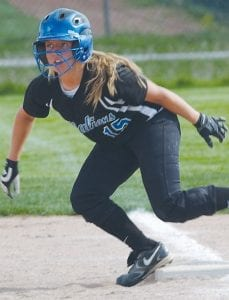 Carman-Ainsworth's Kelsey Ferguson makes her stride toward second base.