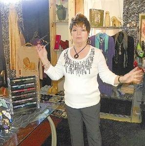 Wanda Belton of Grand Blanc in one of her three stalls at the Bristol Torrey Trade Center.