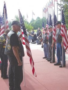 An honor guard arranged by the Michigan Patriot Guard Riders at Domino Farms in Ann Arbor.