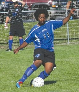 Ammar Mohamed clears the ball from Carman-Ainsworth's end of the field.