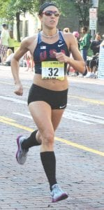 Grand Blanc graduate Geena Gall ran in preparation for the Olympic trials.