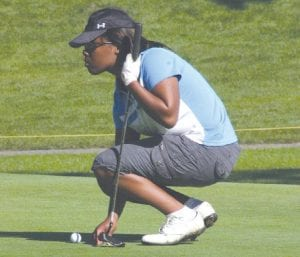 Selena Johnson lined up a putt at a competition earlier this season.