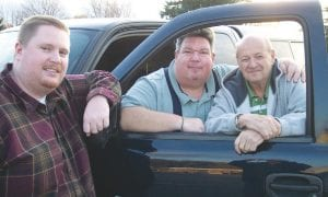 (L-R) Alex Clark, his father Al Clark, a retired Flint Township police officer, and Westwood Hills Crime Watch Captain Harold Zinn on patrol.
