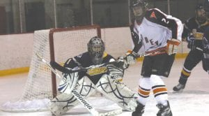 Matt Nagy (2) positioned himself in front of the net in a game earlier this season.
