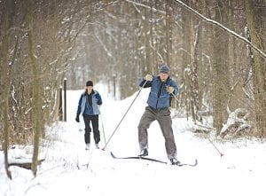 The solitude of the woods in winter offers campers plenty of cross-country skiing options.