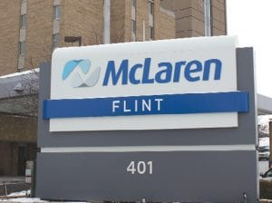 The new sign in front of McLaren Hospital, at 401 Ballenger Hwy., reflects the name change for the health care provider.