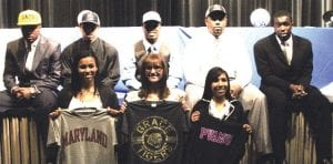 Announcing their college choices Wednesday were (front, from left) Kamrin Gold, Courtney Glinka, Jasmine Jones, (back) Rummeal Branch, Shane Barron, Brandon Lenoir, Myles Overton and Shahid Muhammad.