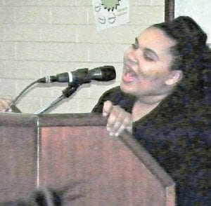 A student sings