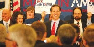 CAMPAIGN STOP — Rick Santorum, Republican candidate for the presidential nomination, stopped in Flint Township at Applebees on Miller Road earlier in the day Feb. 26, then at this stop in Davison Township at Colonial Valley Suites to rally a group of about 300 supporters before Tuesday's primary election. Santorum spoke on several subjects and urged supporters to get out and vote for him in the primary. He lost in Genesee County and overall in the state to Mitt Romney.
