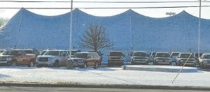 This enclosed tent in the Patsy Lou Williamson Megalot at Linden and Corunna roads is one of three approved last week by the Flint Township Board.