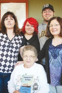 Pictured starting top left Clare Pardee, Maygen Pardee, William Davidson, Kim Gazso and Phyllis Thomas. These are the descendants of Anna Thomas, a survivor of the Titanic.