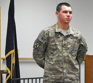 """WELCOME HOME — U.S. Army Pvt. 1st Class Mark Nebraski was welcomed home with applause and a standing ovation at the Flint Township board meeting Monday night. He returned to the United States on March 6 after a 12- month deployment in Arghandab River Valley, Kandahar, Afghanistan, said Township Supervisor Karyn Miller, who introduced him. He also served in the 10th Mountain Division at Fort Drum in New York. Nebraski attended the meeting with his mother, Deborah Nebraski, a candidate for township trustee, and Chelsey Nebraski, his wife with whom he celebrated his first wedding anniversary on March 2. """"We want to thank you very much for your service to keep us free,"""" Miller said to Nebraski before the audience stood and gave him a standing ovation."""