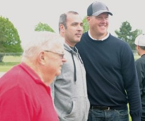Jim Abbott poses with local fans, following his Run, Pitch & Hit camp at Flint's Broome Park last Saturday.