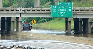 This semi-tractor trailer was stranded on I-75 following the May 4 storm and flooding.