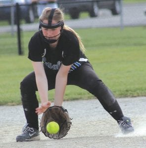Katlyn Koegel is a strong defensive player for Carman- Aisnworth, both in the infield and outfield.