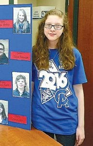 Dahlia Kassel, 14, has written and staged her first play, which was performed at Carman- Ainsworth Middle School on May 17.