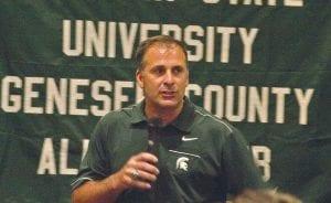 MSU defensive coordinator Pat Narduzzi spoke at the MSU GCAC tailgate event last Friday.