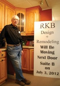Owner Steven Allen of RKB Design and Remodeling is gearing up to move locations after being in the same showroom/office since 1984. Changes in the economy are responsible for the smaller space.