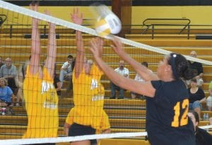 The Black Team got edged out by the Gold at the annual Bruin Classic All Star volleyball game at Mott Community College on June 19.