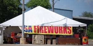 USA Fireworks has a stand located in the outskirts of the parking lot of K-Mart at Belsay Road and Court Street. They sell consumer fireworks.