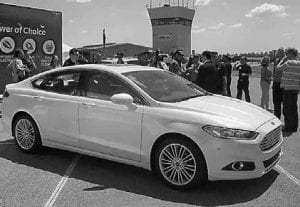 2013 Ford Fusion SE on display at Ford's test track in Dearborn.