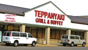 The sign is up announcing the soon-to-open Japanese-style restaurant taking over the former Old Country Buffet site.