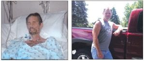 Jim Dorff is pictured here, in his hospital bed when he weighed just 88 pounds and considered himself on the verge of death. The second picture is Dorff today, three and a half years after receiving a new liver and kidneys.