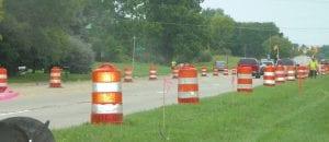 Orange barrels mark the lanes where work has begun on Linden Road.