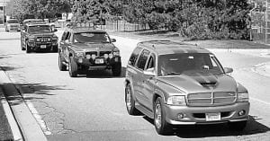 Durango Owners' Club members leaving Jefferson North Assembly.